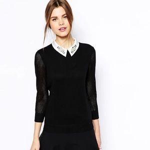 Ted Baker embellished satin collar black sweater